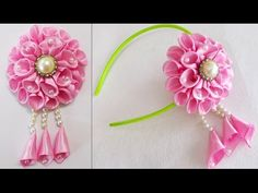 DIY for Girls : How to Make Kanzashi Beads Satin Ribbon Flower | Hair Accessories - YouTube