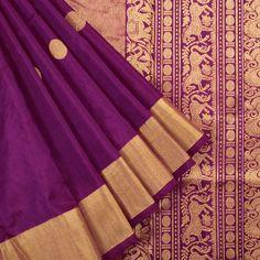 Ghanshyam Sarode Pompadour Purple Handwoven Kanchipuram Silk Saree With Rudhraksham Motifs 10003442 - AVISHYA