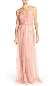 Free shipping and returns on Amsale 'Aisha' Tulle Twisted V-Neck Gown at Nordstrom.com. Deft pleating and a twisted strap shape the shoulder-baring bodice of a romantic tulle gown nipped with an inset waist before tumbling to a floor-sweeping finish.