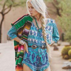 @sarahloven wearing gorgeous @spell_byronbay #turquoise #romper #playsuit #boho http://ift.tt/1bLNhEN