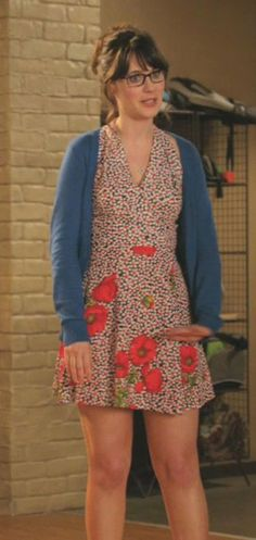 Zooey Deschanel's Red Flowery Dress with Blue Cardigan from New Girl.  Outfit Details: http://wwzdw.com/z/776/ #WWZDW
