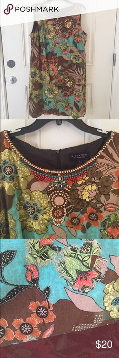 """Earth Tone Shift Dress with Beadwork This lined earth tone shift dress with beadwork is great for the office! This dress is brown, tan, green, yellow, orange and turquoise! Measurements: Pit-to-Pit= 43"""" waist = 42 length= 36 Signature by Robbie Bee Dresses"""