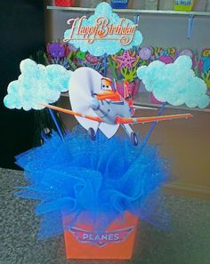Disney's Planes Centerpiece Disney Planes Party, Disney Planes Birthday, Sons Birthday, 4th Birthday Parties, Party Props, Party Themes, Party Ideas, Airplane Party, Baby Shower Centerpieces