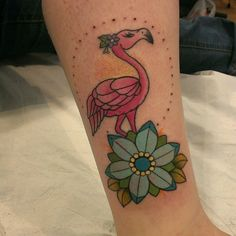 Flower and Flamingo Tattoo On Leg