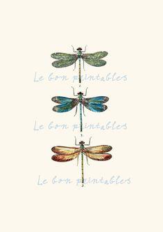Vintage dragonfly instant download printable door Lebonprintables, $2.49