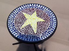 A mosaic table I made from stained glass pieces.