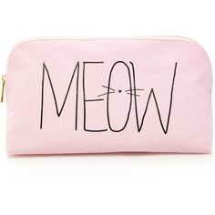 Forever 21 Meow Kitty Print Makeup Pouch found on Polyvore