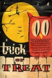 """Vintage Halloween Treat Bag ~ """"Trick or Treat"""" w/ Owl and Full Moon"""