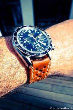 Watchstrap , Omega, Speedmaster, Moonwatch, leather strap, Uhren, Armband, Uhrenarmband, Handmade, selfmade, diy,