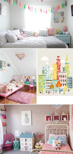 Love the bottom picture - Grey wall with gold spots  Kids Spaces: Make Your Toddler's Room Pop