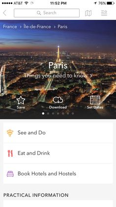 """I selected """"Paris"""" under """"Suggested for Your Trip"""" on Home Screen -> Paris Screen 1"""