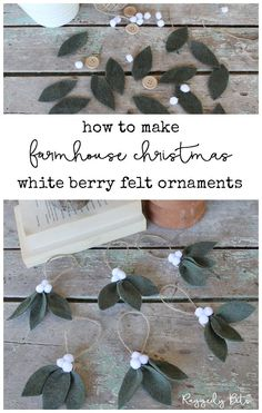 Diy christmas ornaments - How To Make Farmhouse White Berry Ornaments – Diy christmas ornaments Felt Christmas Ornaments, Noel Christmas, Rustic Christmas, Christmas Projects, Holiday Crafts, Holiday Fun, Diy Christmas Decorations, Farmhouse Christmas Ornaments Diy, Chritmas Diy