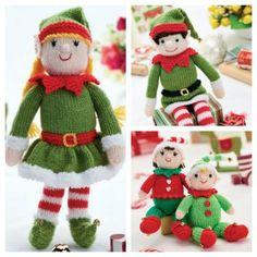 Bernard and Bernadette – Free Christmas Elf Knitting Patterns Knitting Dolls Free Patterns, Knitted Dolls Free, Knitting Blogs, Free Knitting, Knitting Projects, Free Christmas Knitting Patterns, Christmas Patterns, Quick Knits, Knitted Animals