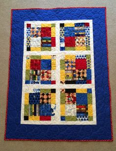 Throw quilt using Nancy Drew themed charm pack. Machine quilted by Carol.
