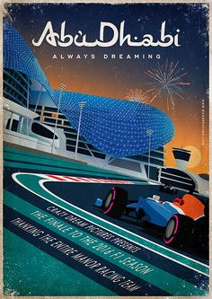 Retro poster design for Manor Racing F1 team. I have made this illustration for the Grand Prix of Abu Dhabi. A collaboration with Just Racing Limited Ltd.