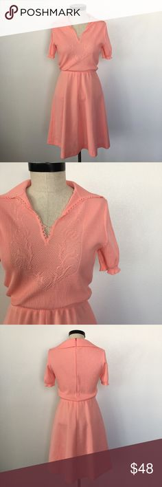 """Vintage Deep Peach Color Short Sleeve Spring Dress This vintage 1970's dress is perfect to wear to a wedding or garden party.   Shoulder seam to shoulder: 16"""" Bust: 18"""" Base of back collar to hem: 41"""" Underarm to hem: 10"""" Shoulder to sleeve: 32""""  Elastic waist: 24.5"""" Vintage Dresses Midi"""