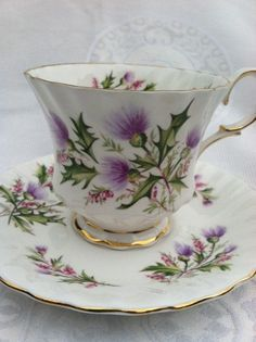 Queen Anne fine bone China Cup & Saucer Black and gold, decorative, g…