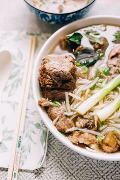 Instant Pot Oxtail Pho Bo (Vietnamese Beef Noodle Soup with Oxtail) | Hungry Wanderlust Beef Noodle Soup, Beef And Noodles, Chicken Wing Recipes, Beef Recipes, Pho Spices, Pho Broth, Chicken Pho, Pho Recipe, Beef Strips