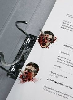 """""""Stationery of Horror. A bloodthirsty corporate design for Germany's most famous crime and horror channel."""" << the bottom guy kinda looks like dean. The Walking Dead, Zombies, Effective Ads, Haha, Commercial Ads, Stationary Design, Corporate Stationary, Design Blog, Box Design"""