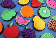 Fruit shaped sugar cookies - LOVE the kiwi :)