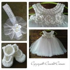 """Lindo [   """"I hate tutus but the top section is cute."""",   """"Crochet TuTu Dress set this so pretty. Wish I could crochet."""",   """"Crochet tutu Dress set-would make a nice Christening dress."""",   """"Crochet TuTu Dress set - No Pattern. Pinned for idea only"""",   """"vestido+croche++com+tule.jpg Can"""