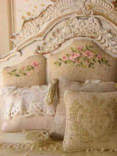 Beautiful headboard and pillows
