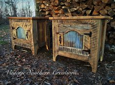 Reclaimed barn wood end tables by Vintage Southern Creations
