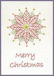 Pine Cones and Poinsettia Prick 'n Stitch Card Designs