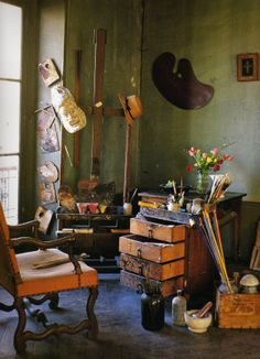 André Derain's studio in Chambourcy, France as he left it in 1954.  The light quality and the room's green washed walls are mesmerizing. The room is chalked full of exotic and domestic objects - all beautiful to behold but somewhat lost in the scatter of a creative process.