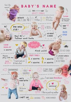 Before you even notice your baby will stop being this little cutie. Remember what he/she loves with this cute baby infographic! It will be treasured by you and your child. With this infographic you can add up to 10 photos of your baby! Different ages is ok!