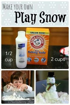 Play snow! Awesome idea to do while waiting for the snow to come or a little one who cant really be out in the cold yet.
