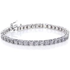 Annello 1/2ct Diamond Tennis Bracelet Sterling Silver ($234) ❤ liked on Polyvore featuring jewelry, bracelets, white, white jewelry, sterling silver jewellery, sterling silver bangles, sterling silver tennis bracelet and diamond jewellery