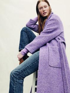 Collection wrap coat in Italian herringbone