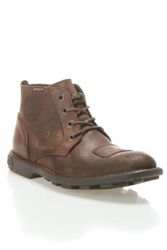Kostic Work Boots in brown by Kickers $152 - $70 at BeyondTheRack. Padded insole. Grip at sole. Leather Upper, Rubber Sole. Made in Portugal.