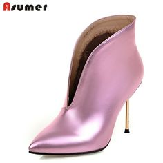 (37.00$)  Watch more here - http://ail43.worlditems.win/all/product.php?id=32700014108 - just arrive 2016 autumn spring women fashion boots slip on pu soft leather pointed toe thin heels sexy female ankle boots