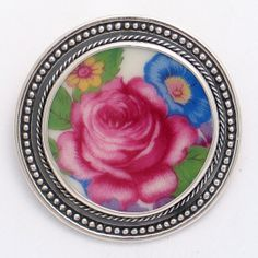 Broken China Jewelry J-300 Pink Rose Sterling Brooch Pin Pendant
