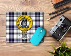 Rubber mousemat with Hannay clan crest and tartan - only from ScotClans