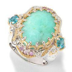 154-351 - Gems en Vogue 18 x 13mm Seafoam Green Oligoclase, Apatite & Pink Sapphire Ring