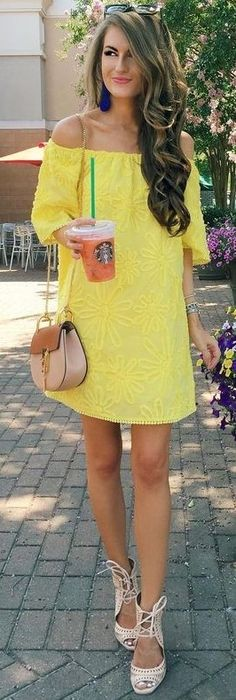 Stitch Fix Spring 2017 – bright yellow off the shoulder short sleeved dress with floral embroidering. resort wear – beach vacation – brunch outfit - All About Preppy Dresses, Preppy Outfits, Cute Summer Outfits, Preppy Style, Spring Outfits, Yellow Outfits, Work Outfits, Girl Fashion, Fashion Outfits