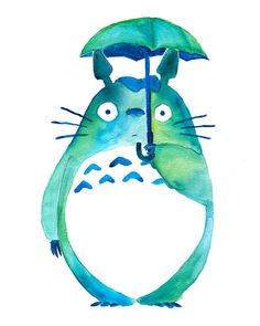 Totoro in the Rain Art Print Studio Ghibli von BumbleBirdStudio