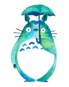 Totoro dans la pluie Art Print - Studio Ghibli - mon voisin Totoro - cadeaux