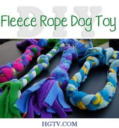 12 DIY Essentials for your Pampered Pooch at TidyMom.net   DIY Fleece Rope Dog Toy #toy dog #searchub