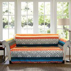 Lush Decor Boho Stripe Sofa Turquoise/ Tangerine Furniture Protector Slipcover