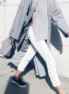 nadia bartel // street style // grey and white for fall