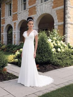USD$237.90 - V-neck Beaded Chiffon Short Sleeves Simple Wedding Dress - www.weddingdressbraw.com