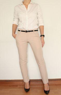 Dress Pants Skinny Trousers for Women in Beige by KSclothing,