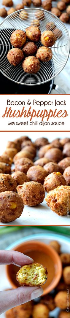 EASY Game Day/ANYDAY Bacon, Pepper Jack Hushpuppies with a crispy, golden outside and soft, cornbread inside dunked in the most tantalizing sweet and tangy Sweet Chili Dijon Sauce. aka savory heaven