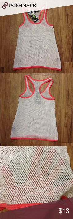 Mesh workout / coverup top Coral and white colored mesh see-through top. Perfect to wear over your fave sports bra or swimwear. Bought from Macy's. New with tags Tops