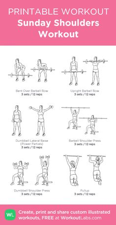 Fitness Motivation : Picture Description Sunday Shoulders Workout: my custom printable workout by Sport Fitness, Fitness Tips, Planet Fitness Workout, Health Fitness, Forma Fitness, Fitness Motivation, Reps And Sets, Printable Workouts, Free Printable