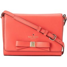 Kate Spade New York Holly Street Rubie ($143) ❤ liked on Polyvore featuring bags, handbags, shoulder bags, purses, coral, geranium, flat purse, kate spade handbag, kate spade purses and shoulder strap bag